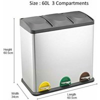 RecyQ Recycling Bin with Lids for Kitchen / 60 Litre Capacit