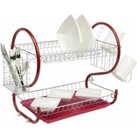 Red 2 Tier Chrome Plate Dish Drainer