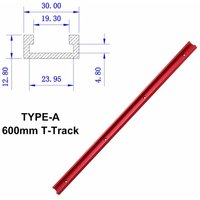 Drillpro - Red 300mm / 400mm / 500mm / 600mm Aluminum Alloy Tab T-Track Slider Nut Slider DIY Woodworking Tool (TYPE A 600mm T Track Slider)