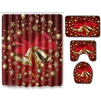 Insma - Red Bell Christmas Bathroom Set Waterproof Shower Curtain Toilet Cover Set Rug Floor Mat Full Set 4PCS