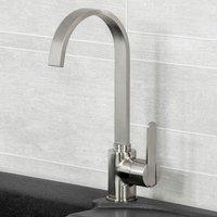 Amur Kitchen Sink Tap Brushed Swivel Spout Mixer Monobloc Single Lever - Reginox