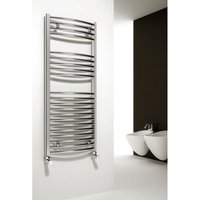 Reina Diva Steel Curved Chrome Heated Towel Rail 1600mm x 400mm Electric Only - Thermostatic
