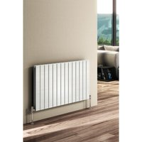 Flat Steel White Double Panel Horizontal Designer Radiator 600mm x 1402mm - Dual Fuel - Standard - Reina