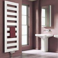 Fondi Designer Heated Towel Rail 1229mm H x 500mm W White - Reina