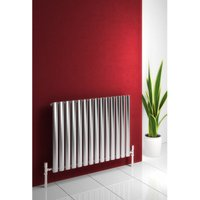 Nerox Stainless Steel Brushed Horizontal Designer Radiator 600mm x 1003mm Single Panel Electric Only-Thermostatic - Reina