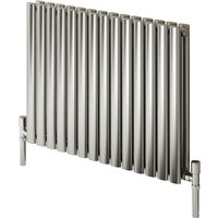 Reina Nerox Stainless Steel Brushed Horizontal Designer Radiator 600mm x 826mm Double Panel Dual Fuel - Thermostatic