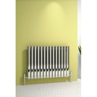 Nerox Stainless Steel Polished Horizontal Designer Radiator 600mm x 1180mm Single Panel Electric Only-Thermostatic - Reina