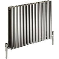 Reina Nerox Stainless Steel Polished Horizontal Designer Radiator 600mm x 590mm Double Panel Dual Fuel - Thermostatic