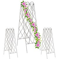 2-fronted trellis, set of 3 metal garden lattices, climbing plants, 152 cm high, free-standing, red-brown - Relaxdays