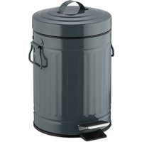 """3 L """"Retro"""" Pedal Bin, Includes Liner Bucket with Handle, Stainless Steel Hands-free Trashcan, Grey - Relaxdays"""
