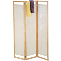 Relaxdays 3 Panel Room Divider, Folding Partition Screen, Opaque Paravent, Bamboo and Fabric, HxWxD 170x120x1.5cm, Natural