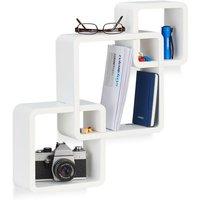 3-Piece Wall Shelf, Matt Cube Hanging Shelf, Durable Floating Shelf, White - Relaxdays