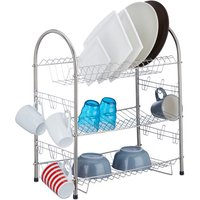 3-Tier Dish Drainer, Stainless Steel Dish Rack, Compact, Robust, HxWxD: 55.5 x 49.5 x 24.5 cm, Silver - Relaxdays