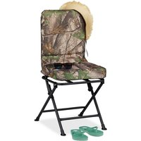 360° Swivel Camping Chair, Padded Fishing Seat, Garden Seat, Folding, 100 kg, Green - Relaxdays