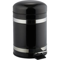 3L Pedal Bin, Bin Liner with Handle, Kitchen Waste Bin, Trash Can, Stainless Steel, Black - Relaxdays