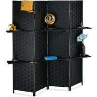 Relaxdays 4-Panel Room Divider, Folding Paravent, Privacy Screen, 2 Shelves, HWD 180x170x39 cm, Black