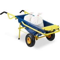 8-in-1 Wheelbarrow, Multi-Functional Hand Truck, 65 L, Garbage Bag Stand, 136 kg, Blue / Yellow - Relaxdays