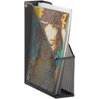 Relaxdays A4 Metal Mesh File Holder, Standing Magazine Rack, Eyelets for Mounting, Document Organiser, Black