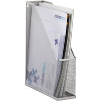 Relaxdays A4 Metal Mesh File Holder, Standing Magazine Rack, Eyelets for Mounting, Document Organiser, Silver