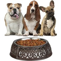 Antique Food Bowl for Dogs, Nostalgic, Heavy, Cast Iron Feeder Stand, Stainless Steel Bowl 1 L, Brown - Relaxdays