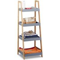 Relaxdays Bamboo Bathroom Shelf, 4-Tiers, Wooden Freestanding Kitchen Storage Rack, HWD 98x36x34.5 cm, Grey