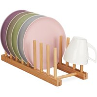 Bamboo Drying Rack, Oblong and Modern, Dish Drainer for Plates, Lids and Cutting Boards, 8 Slots, Natural - Relaxdays