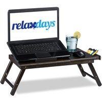 Bamboo Laptop Table, HWD: 24x60x35cm, Height-Adjustable Laptop Stand for Bed and Couch, With Drawer, Brown - Relaxdays
