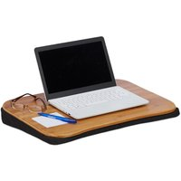 """Bamboo Laptop Table, Removable Cushion, With Handle, Laptop Stand 51 x 37 cm (Up to 22""""), Natural - Relaxdays"""