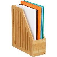 Relaxdays Bamboo Magazine File Holder, A4 Document Storage Rack, Office Desk Organiser, HxWxD: 30x10x26.5 cm, Natural
