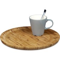 Bamboo Serving Tray Round Diameter 33 cm Bamboo Plate for Serving Cheese Meat Pastries Snacks, etc. Wooden Platter Decorative Plate Tray, Natural