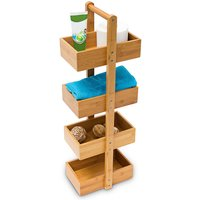 Bamboo Standing Shelf (75 x 25 x 18 cm) 4 Shelves, Bathroom Shelf Unit with 4 Basket Shelves Shower Caddy - Relaxdays