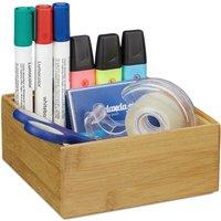 Relaxdays Bamboo Storage Box, Stackable, Natural Look, Kitchen Organiser Bins, Bathroom, HxWxD: 6.5 x 15 x 15 cm, Natural
