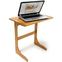 Relaxdays Bamboo Tray Table, 62.5 x 60 x 40 cm, Laptop Notebook Stand, Lapdesk, Natural Brown