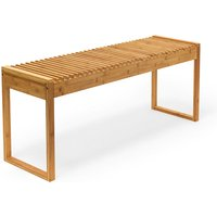 Relaxdays Bamboo Wooden Bench Seat for Patio Balcony Foyer 47 x 120 x 33 cm - Indoor / Outdoor Wood Bench, Natural