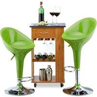 Relaxdays Bar Stool Set of 2, Height-Adjustable, Swivel, 120 kg, Metal Bistro Chair, HxWxD: 101 x 45 x 40 cm, Green