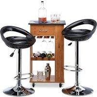 Bar Stool Set of 2, Height-Adjustable, Swivel, 120 kg, Metal Bistro Chair, HxWxD: 99 x 46 x 39 cm, Black - Relaxdays
