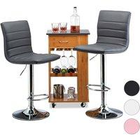 Relaxdays Bar Stool Set of 2, Height-Adjustable, Swivel, Backrest, Metal Bistro Chair, HxWxD: 117 x 40 x 40 cm, Grey