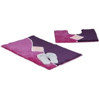 Relaxdays Bath Accessory 2 Piece Set with Graph Design, For Heated Floors, Washable, Bath Mat and Pedestal Toilet Mat with Cut-Out, 80 x 50 cm, Berry