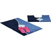 Bath Accessory 2 Piece Set with Graph Design, For Heated Floors, Washable, Bath Mat and Pedestal Toilet Mat with Cut-Out, 80 x 50 cm, Blue - Relaxdays