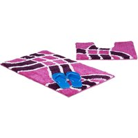Relaxdays Bath Accessory 2-Piece Set with Wave Pattern, For Heated Floors, Washable, Bath Mat and Toilet Rug, For Stand-Alone Toilets, 80 x 50 cm,