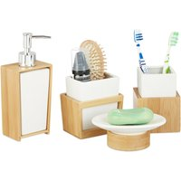 Bath Kit, 4-Piece Bathroom Accessories Set, Bamboo and Ceramics, Soap Dispenser and Tumbler, Natural/White - Relaxdays
