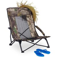 Beach Chair, Folding Fishing Seat with Carrier Bag, Camping Chair, Garden and Beach, 100 kg, 70x57x55cm, Green - Relaxdays