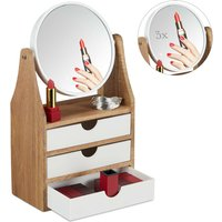 Beauty Organiser, Mirror, 3 Drawers, For Dressing Table, Magnifying Effect, 34 x 19 x 10.5 cm, Natural, White - Relaxdays