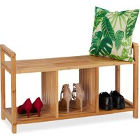 Relaxdays Bench Bamboo, With Storage, 2 Persons, 3 Compartments, Hallway, Shoe Rack, HWD: 56x95x36 cm, Natural
