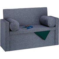 Relaxdays Bench Seat with Backrest, Pillows, Foldable, Storage Ottoman, Padded, Hallway Chest, 75x115x47cm, Grey