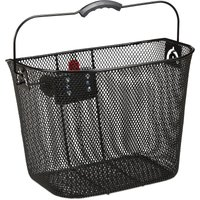 Relaxdays Bicycle Basket Front, Removable, With Click System, Handlebars Carrier, Metal, Close-meshed, H x W x D 27 x 34.5 x 26 cm, Black
