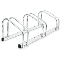 Bike Stand For 3 Bikes, Floor And Wall Mount, 26 x 73 x 32 cm, Outdoor Bike Holder Rack, Steel, Silver - Relaxdays