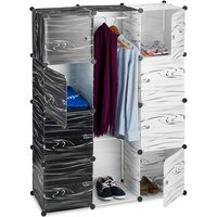Black and White Wardrobe, Modern Cabinet, Shelving Unit with 9 Compartments, Plastic Room Divider, 145 x 110 x 37 cm - Relaxdays
