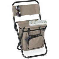 Relaxdays camping chair with bag, foldable, with back support, outdoor seat, folding fishing stool, garden chair, beige
