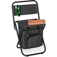 Relaxdays camping chair with bag, foldable, with back support, outdoor seat, folding fishing stool, garden chair, black
